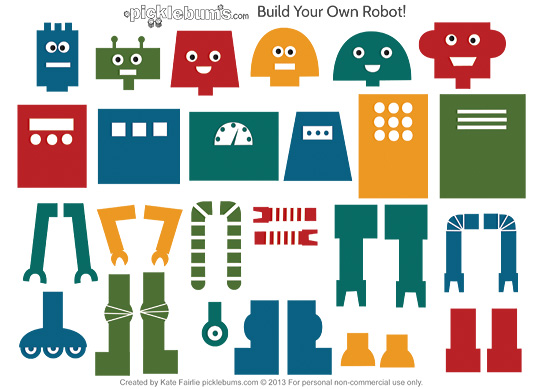 picture about Printable Robot referred to as Develop Your Particular Robotic Absolutely free Printable - Pickles
