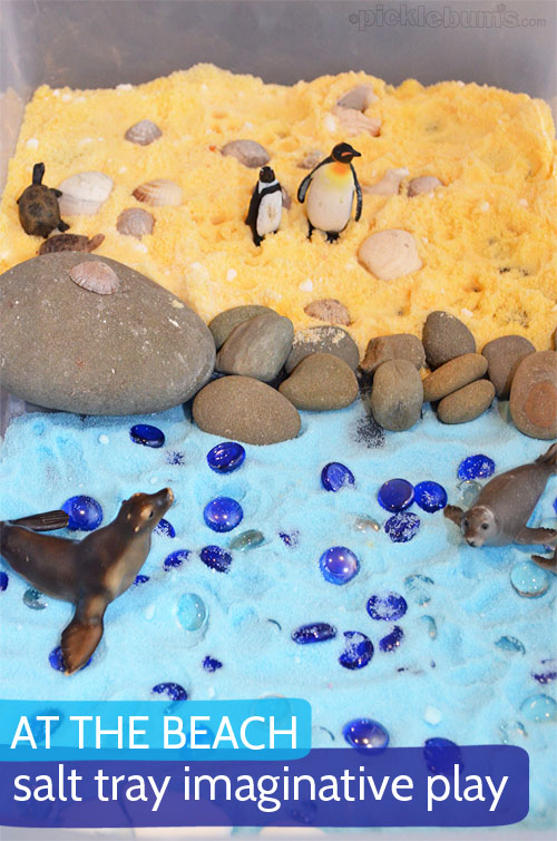 At the Beach : Salt Tray Imaginative Play.