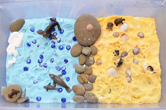 The Beach - coloured salt imaginative play scene