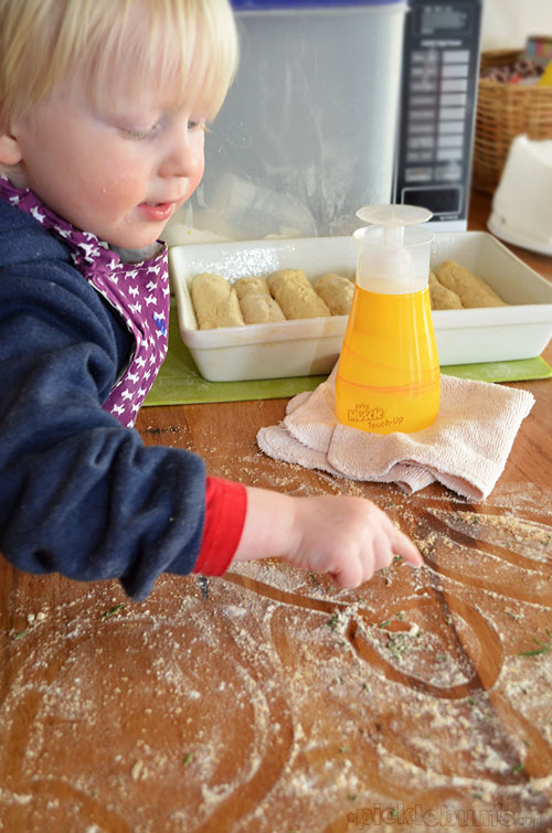 Ten reasons you should never bake bread with a toddler - plus a herby bread stick recipe and Mr Muscle Touch Up review and giveaway