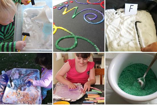 Salt play ideas plus a cool coloured salt imaginary play set up!