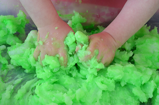 Sludge! - super sensory play with cooked cornstarch and water!