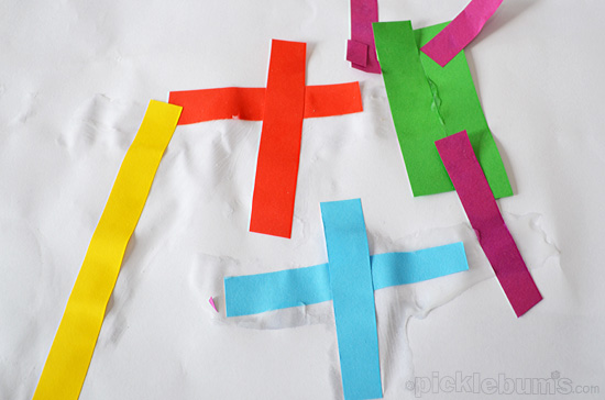 Simple Strip Collage - an easy art  activity for little hand