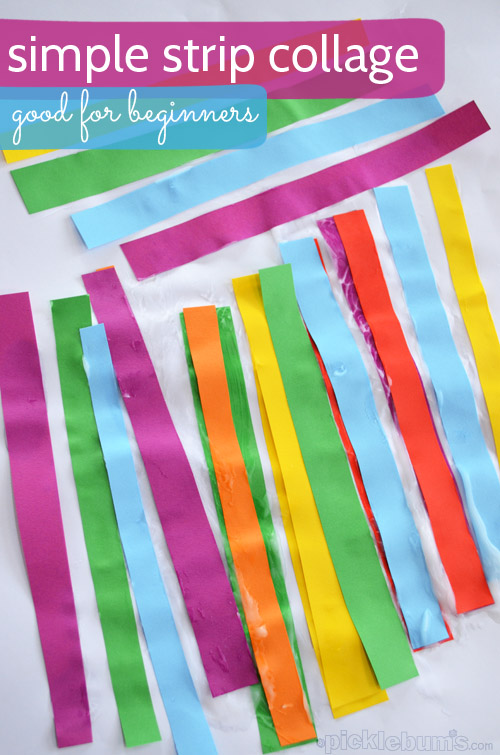 Simple Strip Collage - an easy art  activity for little hands