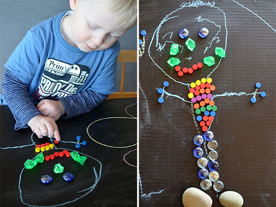 DIY table top chalkboard combiend with loose parts for lots of creativity!