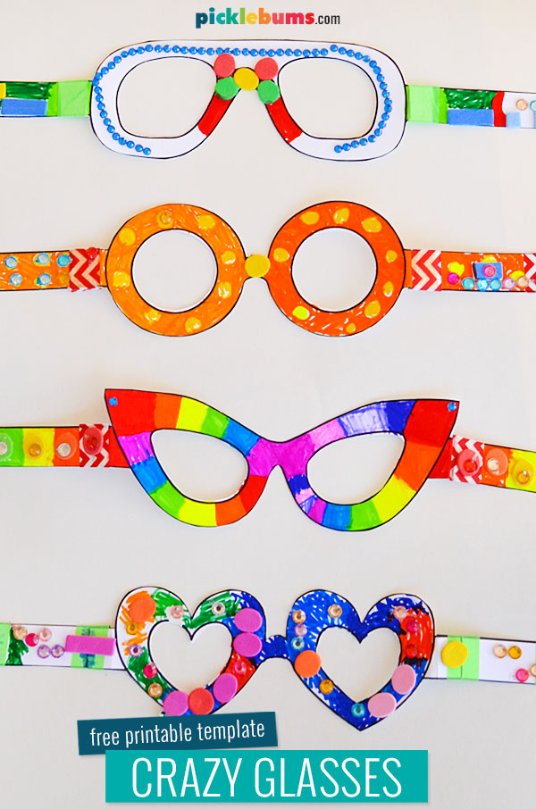 free printable crazy glasses craft template