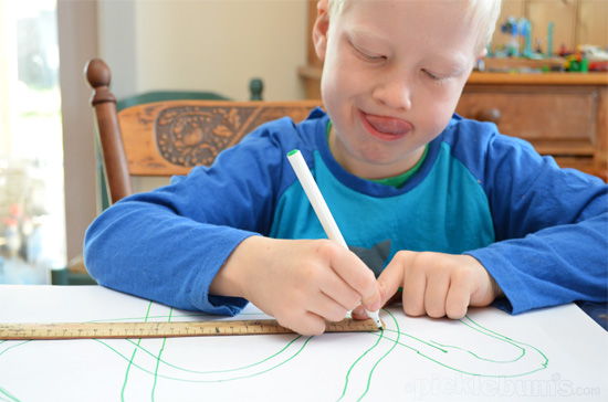 Drawing with geometry tools - using a ruler, protractor, compass and curve.