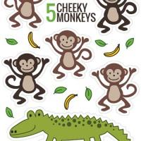 Five Cheeky Monkeys and a Crocodile! Free printable puppetsFive Cheeky Monkeys and a Crocodile! Free printable puppets