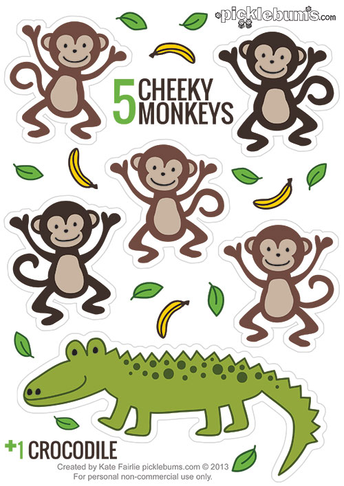 image about Printable Monkey titled Printable Puppets - 5 Cheeky Monkeys and a Crocodile