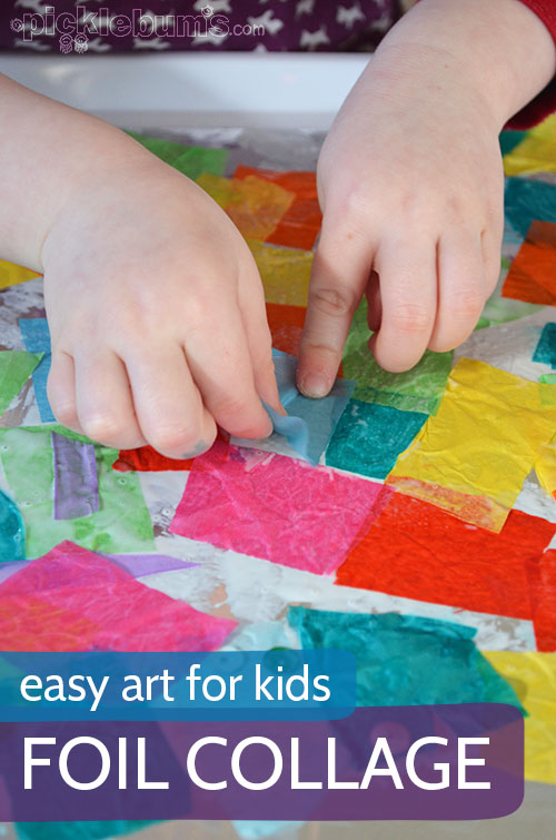 Foil Collage - an easy art activity for kids (and their tired parents)