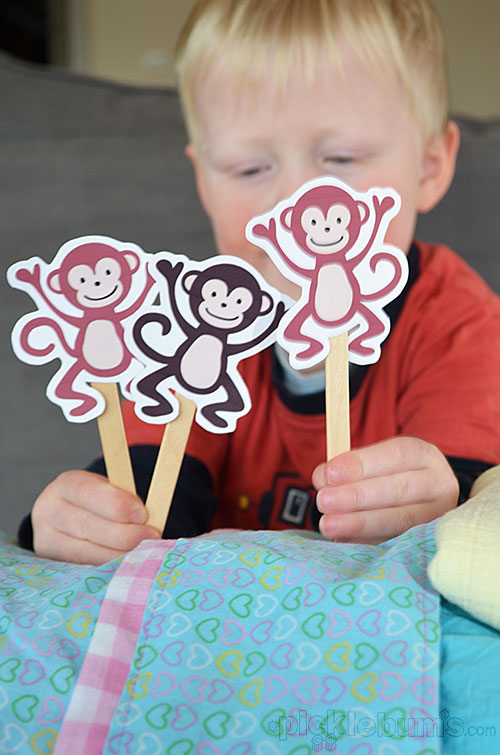 five cheeky monkeys and a crocodile free printable puppets