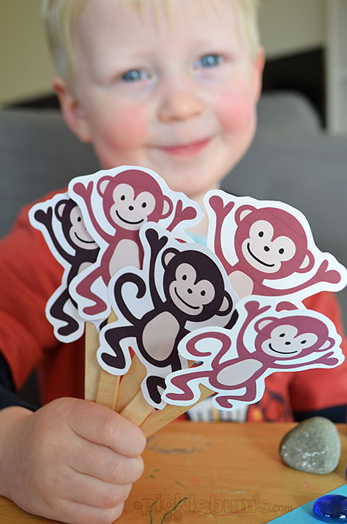Five Cheeky Monkeys and a Crocodile! Free printable puppets