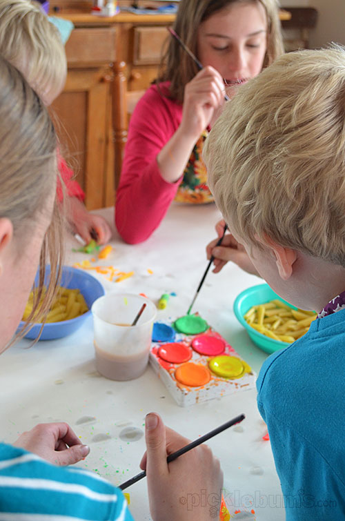 Painting pasta to thread - easy art for everyone!
