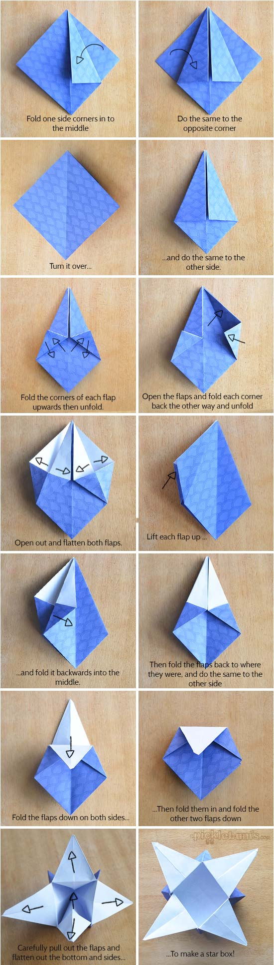 picture relating to Printable Oragami Paper called Origami Star Packing containers with Printable Origami Paper - Pickles