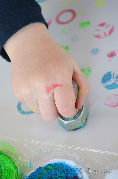 Easy art for kids - Printing with Nuts, Bolts and Screws.