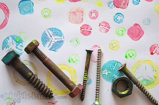 easy art for kids printing with nuts bolts and screws