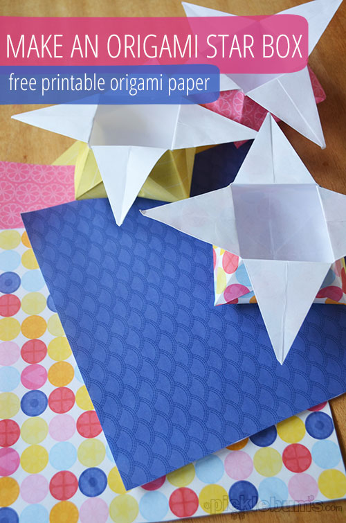 image regarding Printable Origami Paper identified as Origami Star Bins with Printable Origami Paper - Pickles