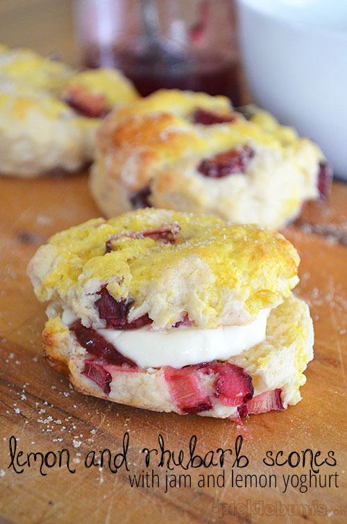 Rhubarb and Lemon Scones - with jam and lemon yoghurt!