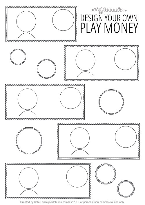 image regarding Printable Play Money Template known as Structure Your Particular Printable Engage in Economical - Pickles