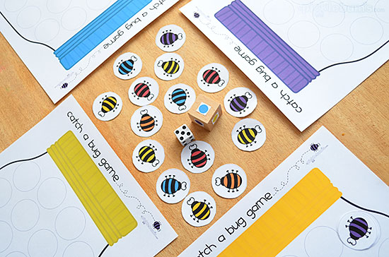 Catch a Bug! Free printable game from picklebums.com  Learn colours and counting with options for all ages.