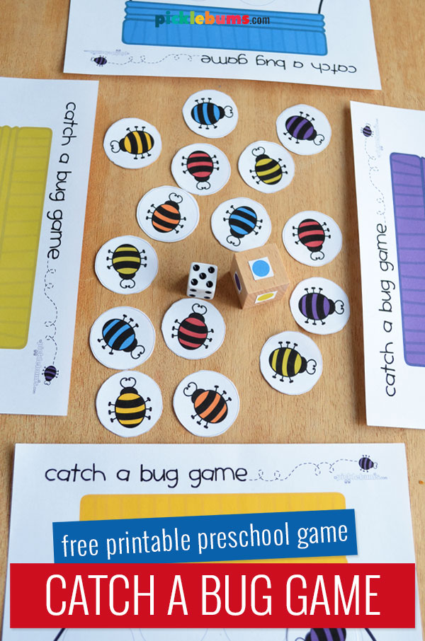Catch a bug printable game boards, bug counters and dice