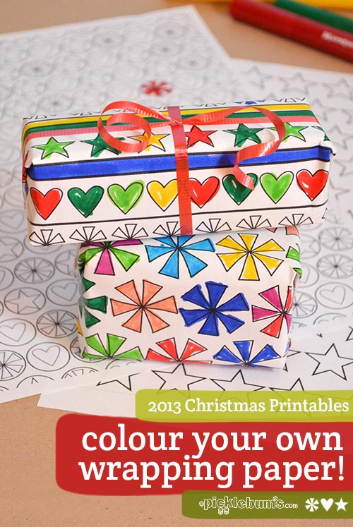 2013 Christmas Printables - colour your own wrapping paper!