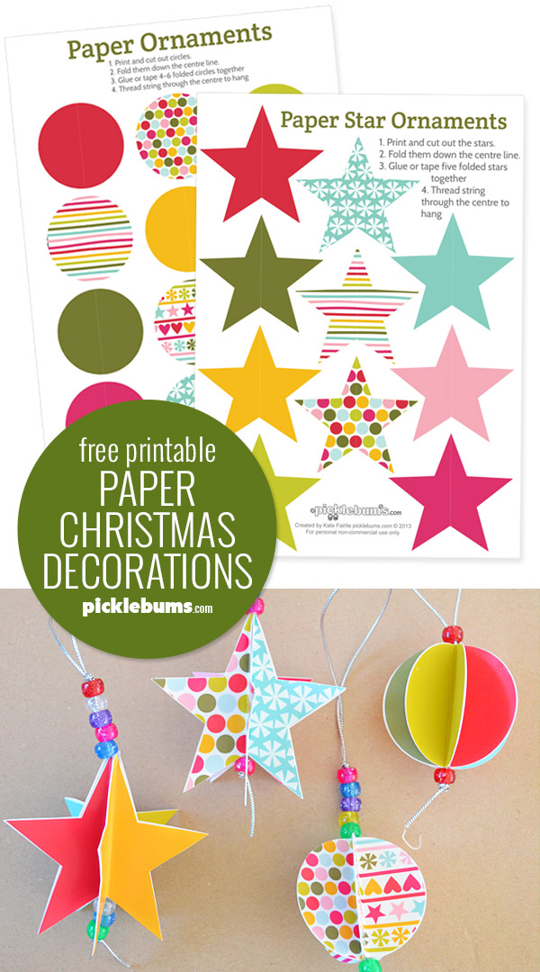 Free printable paper christmas decorations to make