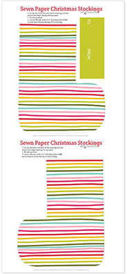 Sewn Paper Stockings - print your own paper stockings, sew them up and fill them with goodies!