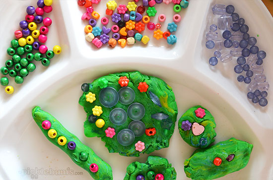 Six More Simple Play Dough Activities - play dough and beads