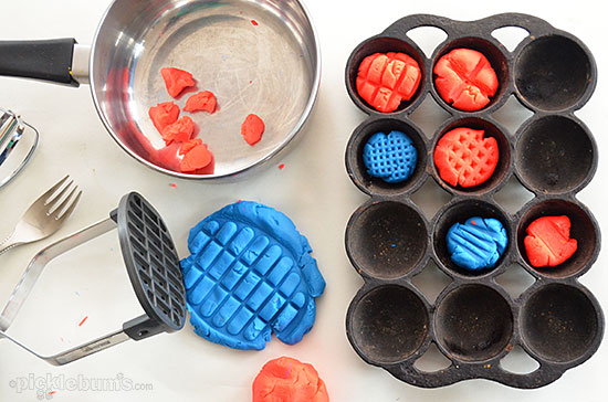 Six More Simple Play Dough Activities - play dough and kitchen utensils