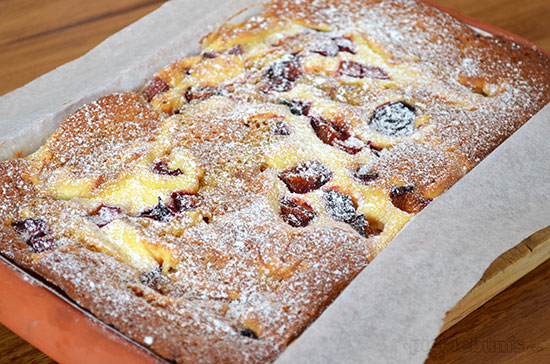 Plum and Rhubarb Cake