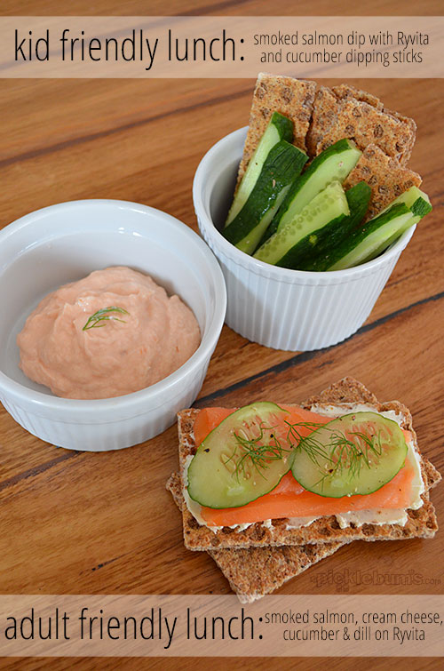 adult friendly lunch and kid friendly lunch using the same basic ingredients