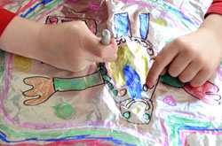 20+ Drawing Ideas and Activities - drawing on foil