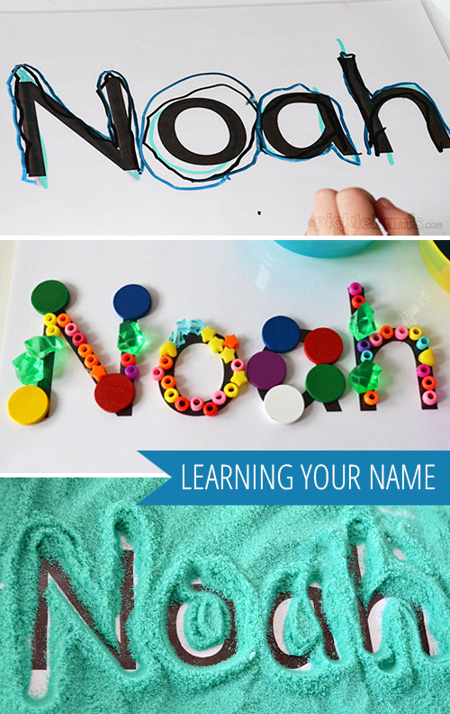 Learning Your Name - three playful ways to help kids learn to recognise their own name using a simple name card.