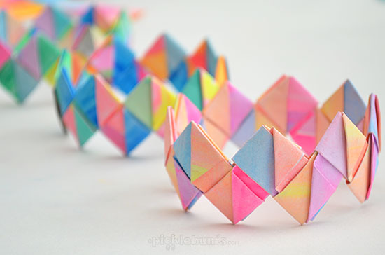 Kids DIY How to Make Folded Paper Bracelets