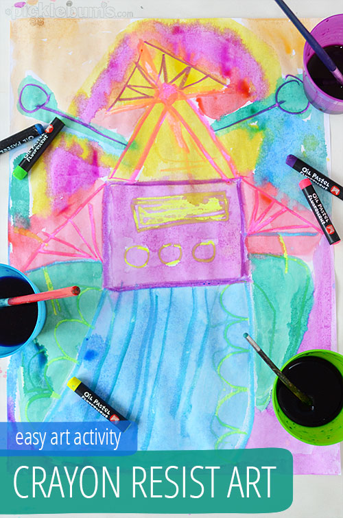 crayon resist art -  a magical and easy art activity