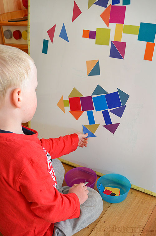 Magnet Madness! - 3 DIY ways to play with a magnet board.  Free Printable shapes to make magnets