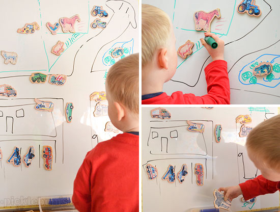 Magnet Madness! - 3 DIY ways to play with a magnet board. Picture magnets and white board markers