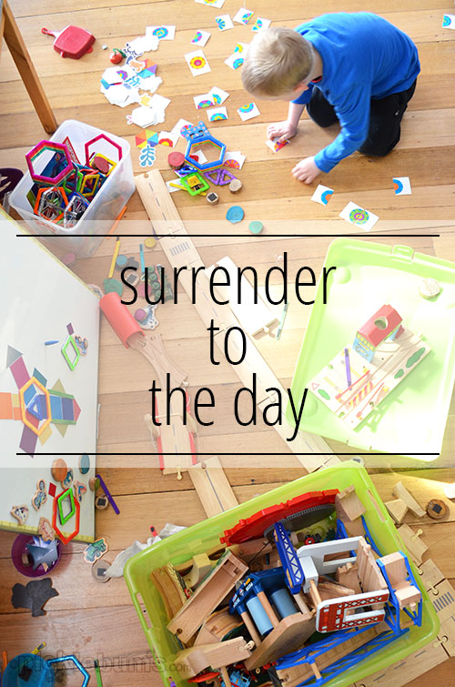 Surrender to the Day - give up the shoulds and coulds and accept your day as it is.