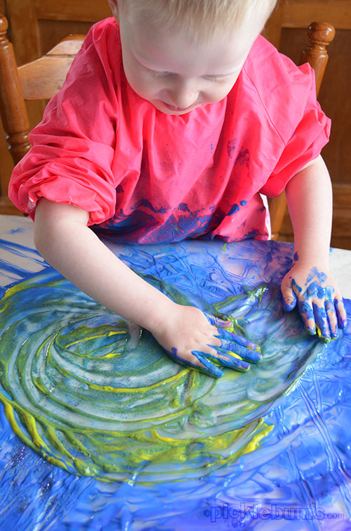 Fun accessories to add to finger painting - plus three easy finger paint recipes.