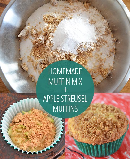 How to make a homemade muffin mix, and apple streusel muffins made from the mix