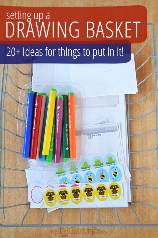 .Setting up a drawing basket for lots of drawing and pre-writing fun!  Including 20+ ideas for what to put in it!