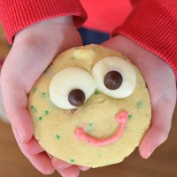 Happy Cookies - choc chip sprinkle cookies with an easy happy face