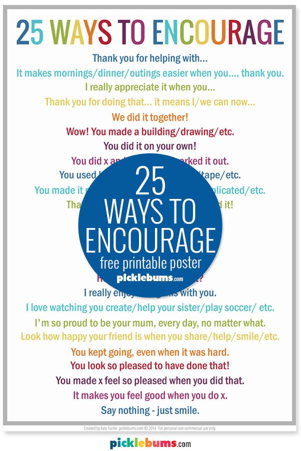 free printable poster 25 Ways to encourage