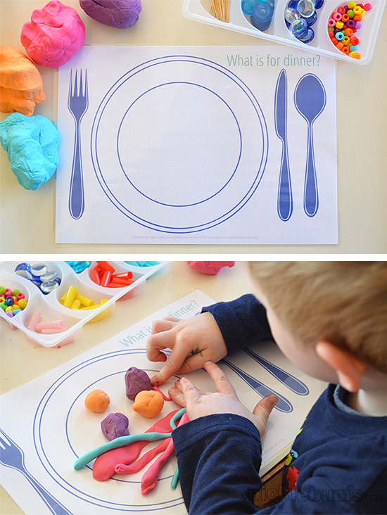 Fun Food! Free Printable Play Dough Mats (They make great place mats too!)