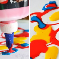 Exploring and Creating with Coloured Glue - an easy art activity