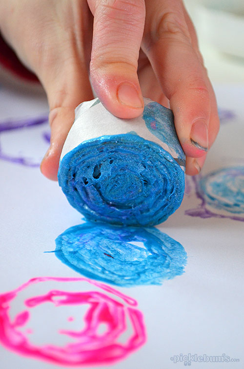 Two easy ways to print with newspaper or any scrap paper - rolled stamps