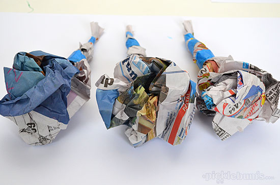 Two easy ways to print with newspaper or any scrap paper - scrunchy printing