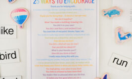 Printed poster about 25 ways to encourage kids stuck on fridge