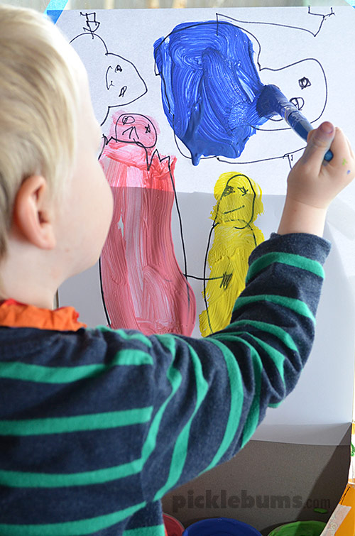 Make a simple window easel and try out the 'draw first, paint later' activity.
